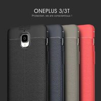 For OnePlus 3 3T Luxury Shockproof Leather Skin Soft Rubber TPU Slim Case Cover
