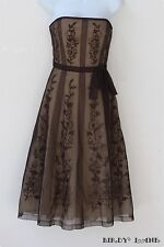 BCBG Max Azria Strapless Party Dress Sheer Brown Tulle Lace Nude Lining Formal 2