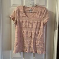 Chico's Women's Pink Lace/Mesh Scoop Neck Short Sleeve Tee size 1 (M)