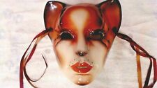 """Vintage Cat Mask Wall Hanging 8-1/2"""" About Face Clay Art San Francisco Usa"""