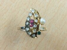 GOLD ON SILVER RUBY EMERALD PEARL & WHITE TOPAZ RING SIZE K