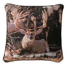 "Solitude Buck - Whitetail Deer 18"" Tapestry Pillow"