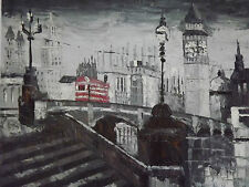 london street red bus oil painting canvas cityscape modern black white original