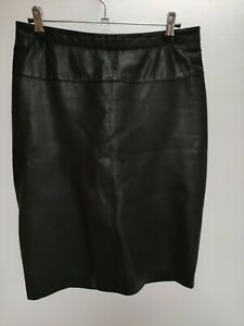 MANGO real leather pencil skirt size M, black, W30 L22 vgc