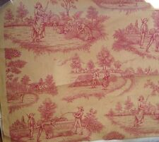 PM Antique  Vintage Style Rustic French Toile de Jouy  Fabric Harvest Raspberry