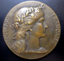 """French Bronze Medal. Woman Marianne France Gallia. By Dupuis / 51 mm / 2"""" / N120"""