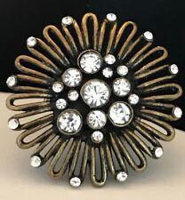 DESIGNER Statement Ring Antique Brass Crystals Stretch Premier Urban Chic 4P