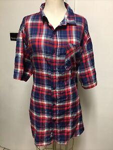Rocawear MENS RED 3XB PLAID BUTTON UP DRESS SHIRT SHORT SLEEVE