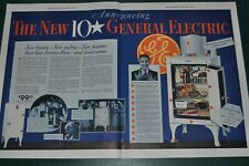 1933 General Electric REFRIGERATOR 2-page big advertisement, MONITOR-TOP fridge