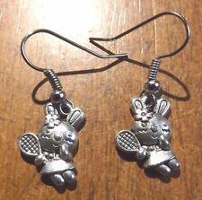 Boucles d'oreilles argentées lapin avec raquette 15x10 mm