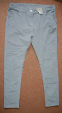 NEW! Sz 14 Grey Corduroy Textured Stretch Straight Jeans Trousers Summer Holiday