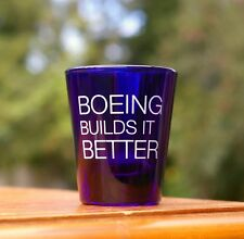"""Boeing Builds It Better Blue Glass Shot Glass 2 1/4"""" Tall by Libbey"""