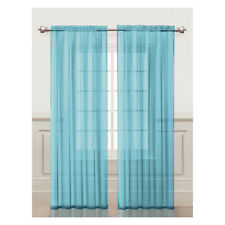 Blue Sheer Window Curtain Panel 2Pc Set: Silky Chiffon, 55in x 84in