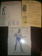 3-1920 RARE ORIGINAL Jackie Sanders Feather Weight Boxer Broadside Flyers