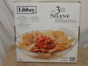 Libbey Selene Chip and Dip Bowl Clear Glass Dishwasher Safe