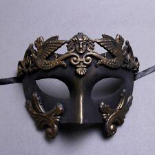 Men Masquerade Mask Roman Greek Warrior Emperor Venetian Mask - Dark Gold Black