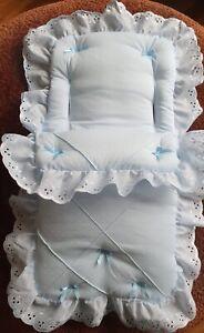 DOLLS Cosytoes/Footmuff BLUE  pin tuck
