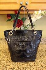 Coach #14265 Alex Black Stitched Patent Leather Tote Shoulder Bucket Bag (u700