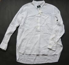 Ralph Lauren Shirt S Linen High Low Step Hem White Boyfriend NWT