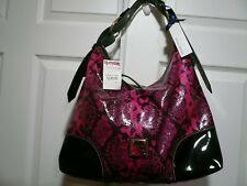 Dooney & Bourke Nikki Snake Embossed Patent Leather Hobo Bag Purse Fuschia Black