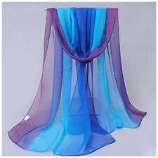 destockage foulard écharpe neuf 100% mousseline de soie dégradé de bleu à violet