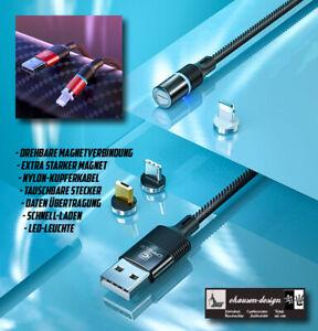 Premium Ladekabel 2m Magnetisch Micro USB Typ C 8-Pin iPhone Samsung Huawei HTC