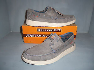 Skechers Mens New NIB Relaxed Fit Status Melec Boat Shoes Distressed Colors !!