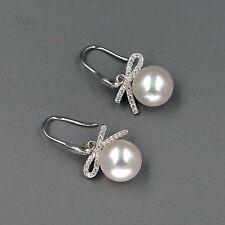 White Pearl Freshwater CZ Sterling Silver Hook Drop Dangle Wire Earrings 01052
