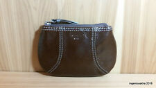 COACH Dark Brown Patent Leather Coin Purse Wallet