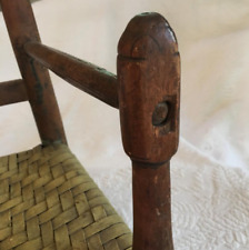 old oak chair and straw - seated -