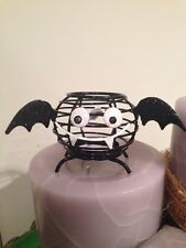 HALLOWEEN TIN METAL BLACK CHEERFUL CREEPY VAMPIRE BAT TEALIGHT CANDLE HOLDER NEW