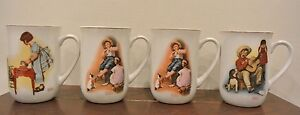 Set of 4 Norman Rockwell Collectors Mugs 1981 Norman Rockwell