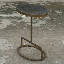 Modern End Side Accent Table Living Room Entryway Bedside Lamp Table Iron Stone