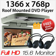 "15.6"" HD Car DVD Player Roof Mounted Flip Down Monitor Screen Van Bus 24V 12V ET"