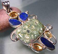 Sterling silver 24gr Florence jasper, opals & lemon quartz gemstone pendant.