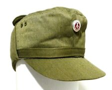 GENUINE EAST GERMAN VINT NVA ARMY OLIVE/KHAKI WINTER FIELD CAP, COTTON/POLYESTER
