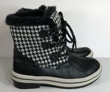 NEW Womens Champion C9 Black White Houndstooth Plaid Faux Fur Lace Up Boots 6