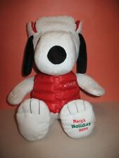 """Peanuts SNOOPY Winter MACYS stuffed plush with Winter Vest and Hat -  20"""" - 2015"""