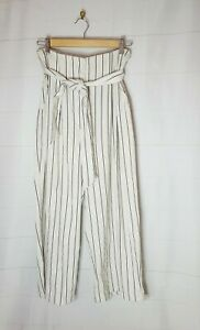 SHEIKE Size 10 Striped Tie Waist High Rise Culottes Wide Leg Pockets Relaxed Fit