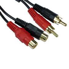 3m Double Phono Extension Cable Lead male Vers Femelle RCA plug to socket gold