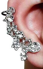 Butterfly Crystal Diamante Ear Cuff Flower Clip On & Stud Earring Right Ear Cuff