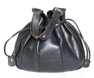 Drawstring Shoulder Bag - 1980s  Vintage - Black Leather - Boho - Large