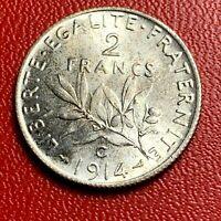 #3795 - RARE - 2 francs 1914 C Semeuse Argent SUP/SPL - FACTURE