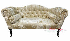 Gorgeous Champagne Cream Crushed Velvet Double Ended Chaise Sofa