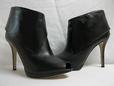 Michael Kors Size 10 M PW14E Black Leather Open Toe Heels New Womens Shoes NWOB