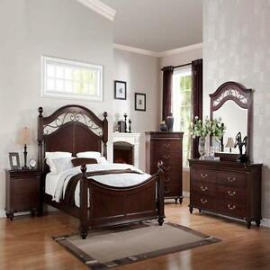 Cleveland Cherry Formal Traditional Antique Queen Bed 4Pcs Bedroom Set Furniture