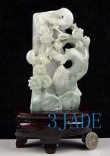A Grade Jadeite Jade Bird Flower Statue Sculpture Chinese Carving w/ Certificate