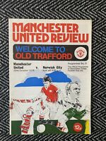 Manchester United v Norwich City 1976 Programme! FREE UK POSTAGE! LAST ONE!!!
