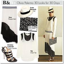 Olivia Palermo x Tibi Bibelot Mesh Paneled Crepe Top in B&W Size 4