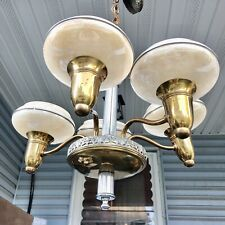 Vintage ANT Art Deco Slip Shade Chandelier Custard & Crystal Glass Chrome Brass
